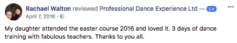5 star review of Professional Dance Experience Easter Dance Course