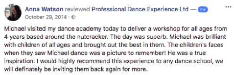 5 star review of Professional Dance Experience Ballet Workshops