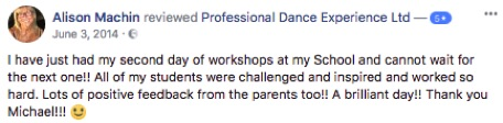 Reviews of Professional Dance Experience Ballet Workshops Michael Berkin