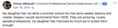 Professional Dance Experience Summer School Reviews