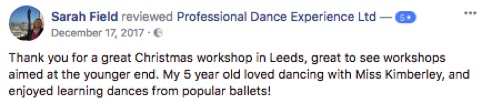 Professional Dance Experience reviews 5 stars Christmas ballet workshops
